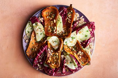 miel squash with radicchio and miso
