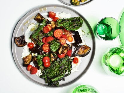 geröstet eggplant and crispy kale with yogurt