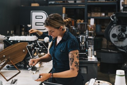לינה True, a barista at Boxcar Coffee Roasters at The Source in Denver, CO.