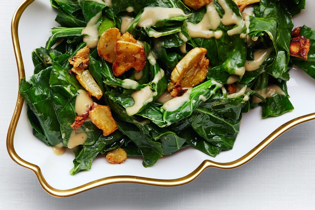 ללא שם: Sautéed Collard Greens with Caramelized Miso Butter