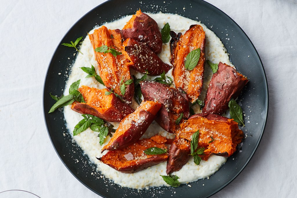 קלויים Sweet Potatoes with Chile Yogurt and Mint