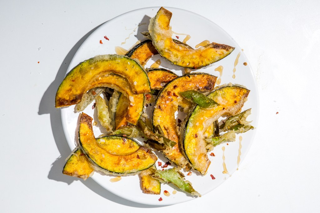 Kabocha Squash and Scallion Tempura
