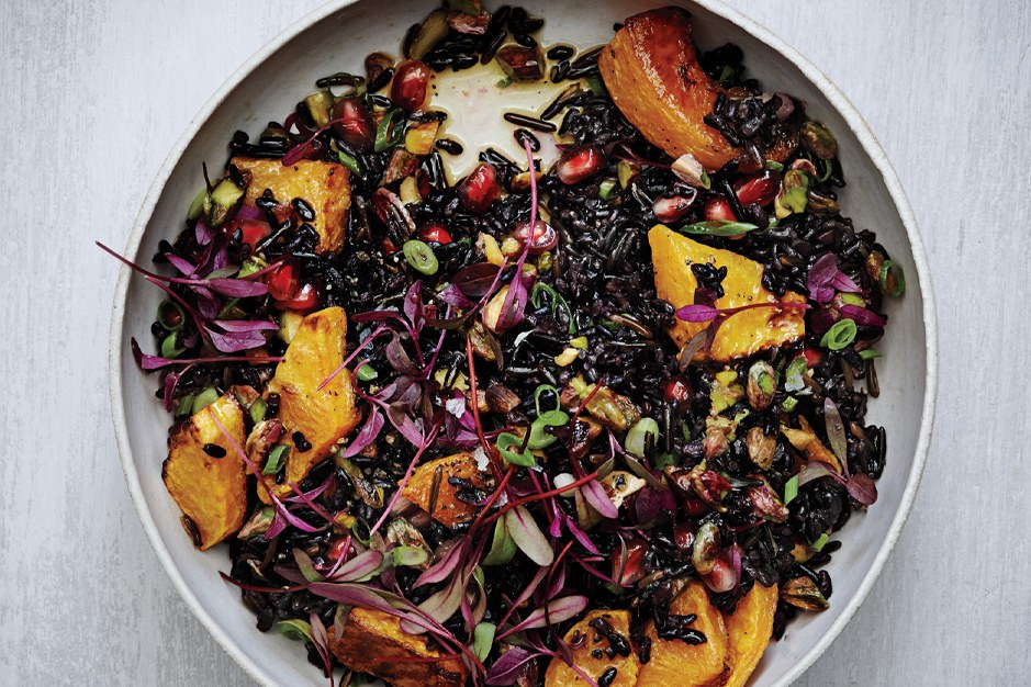 שחור and Wild Rice Salad with Roasted Squash