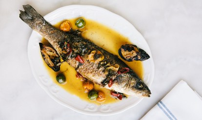 כולו roasted branzino with burnt lemon and Castelvetrano olives