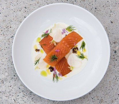 пушено arctic char with turnip, sour cream, mustard, and chive