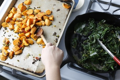 βασικά sweet potatoes cardamom collards combining potatoes greens
