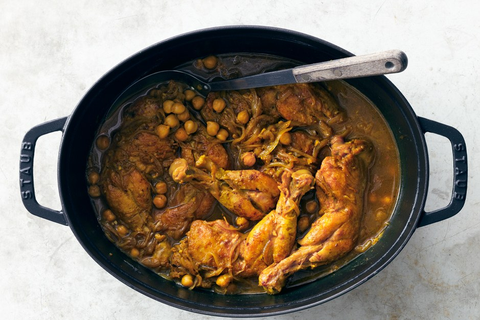 Indisk krydret Chicken with Chickpeas and Spinach