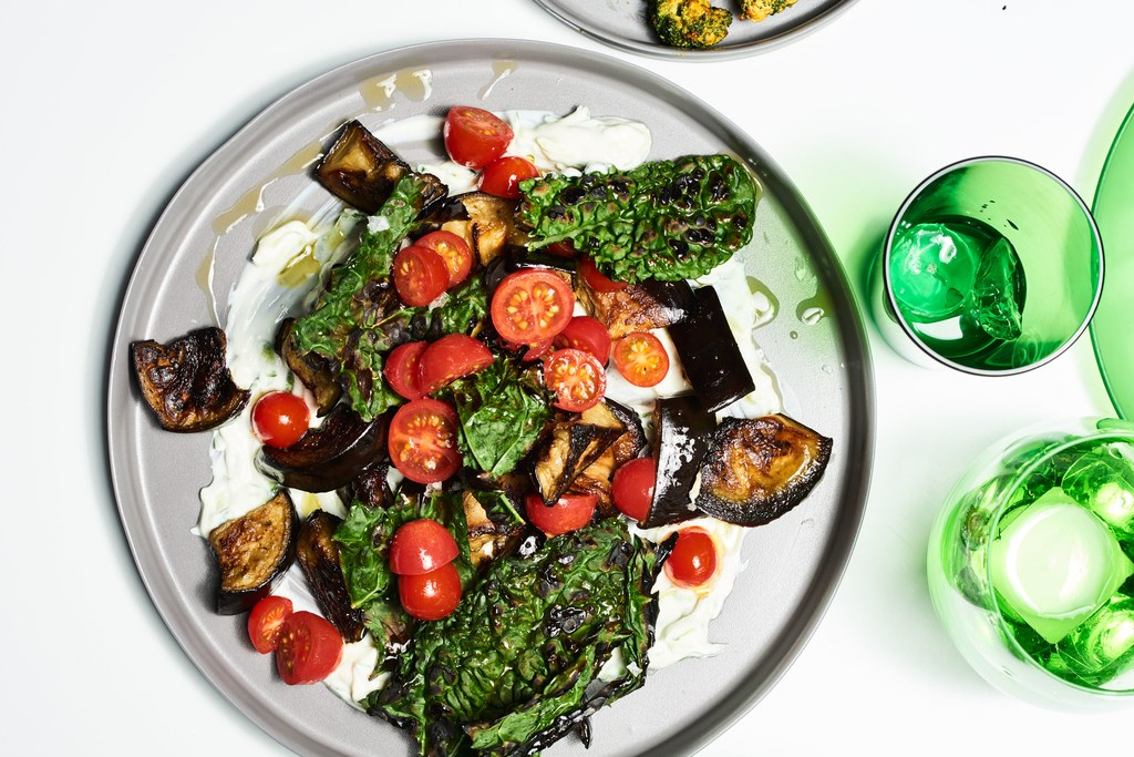 Ristede Eggplant and Crispy Kale with Yogurt
