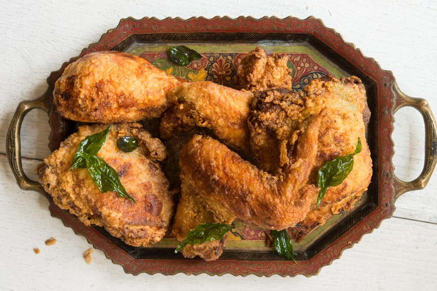 Kerala-Style Fried Chicken with Coconut Oil and Curry Leaves