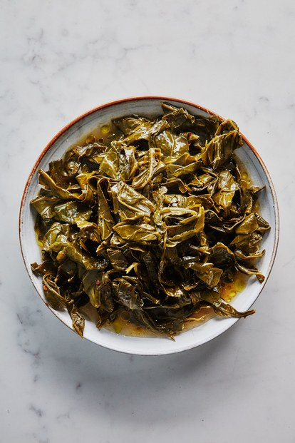 αργός cooked collard greens in olive oil