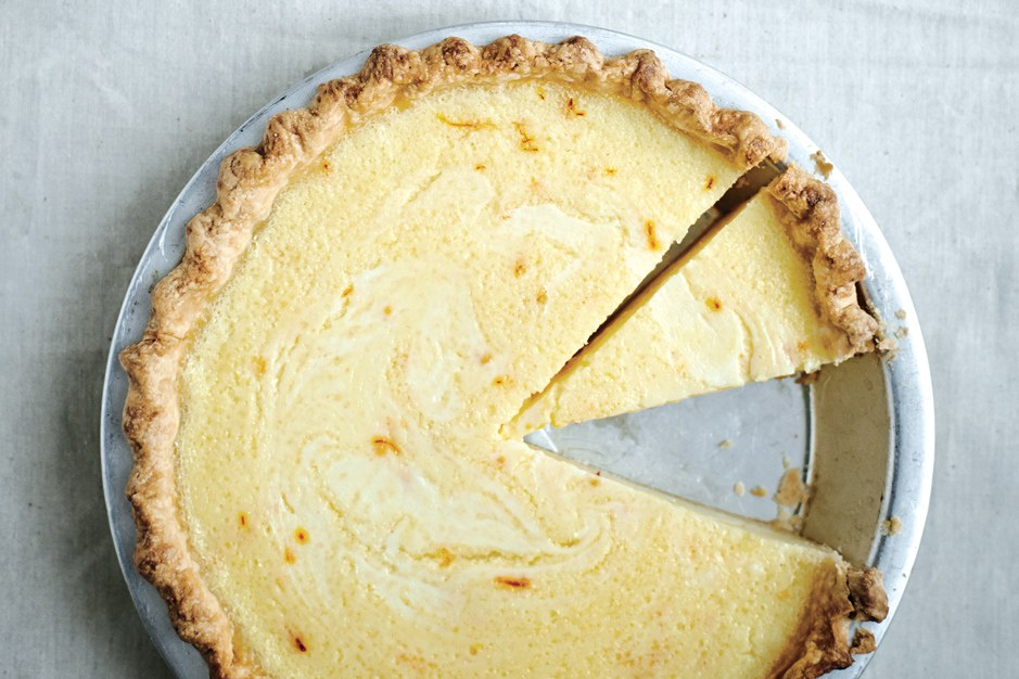 Zitrone Buttermilk Pie with Saffron