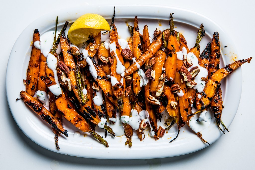 Grill Carrots with Yogurt and Pecans