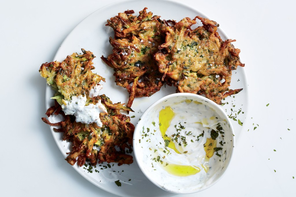 Zucchini-Herb Fritters with Garlic Yogurt
