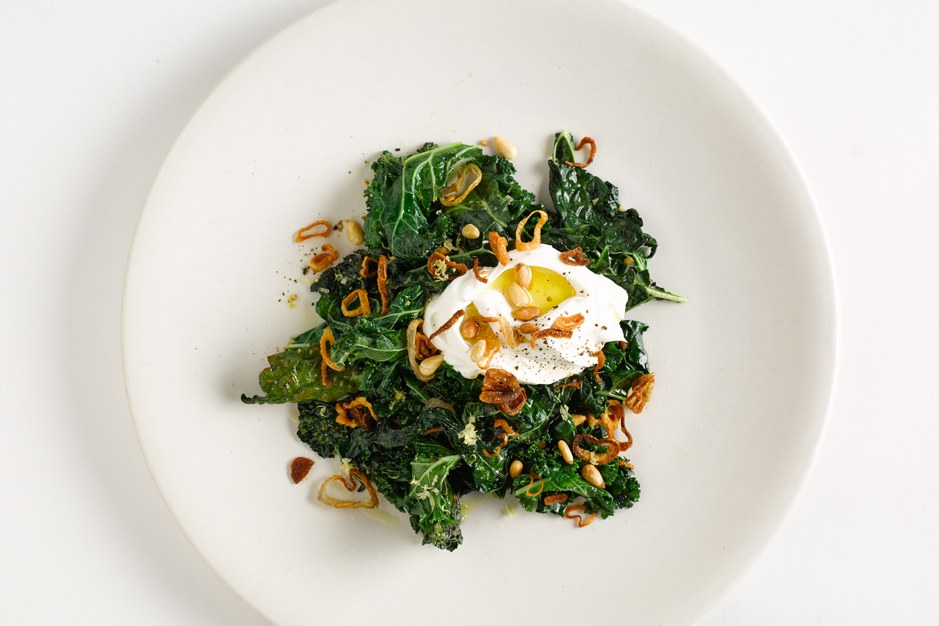 sauteret Greens with Labneh and Pine Nuts