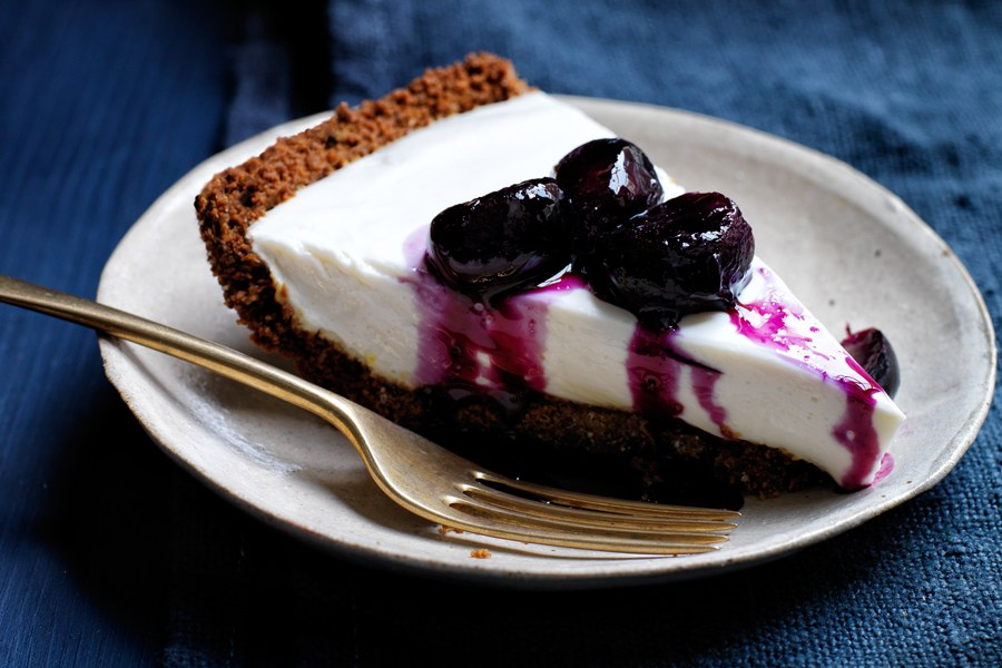 Yoghurt Pie with Grape and Black-Pepper Compote