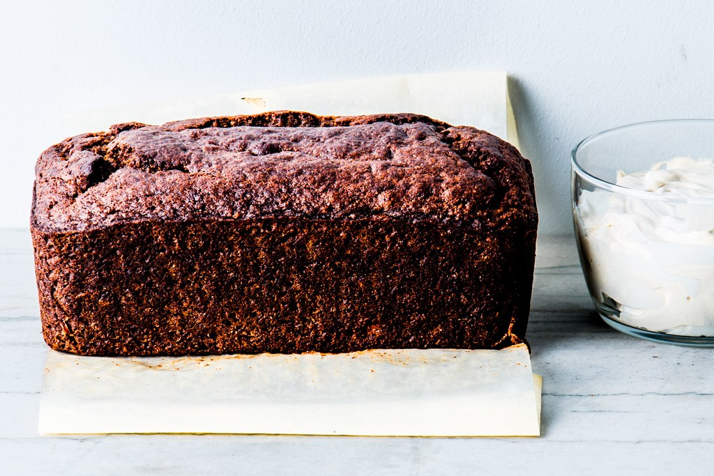 boghvede Banana Cake with Yogurt-Espresso Frosting