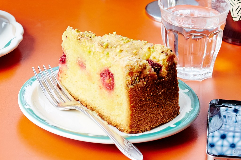 Citron Cake with Raspberries and Pistachios